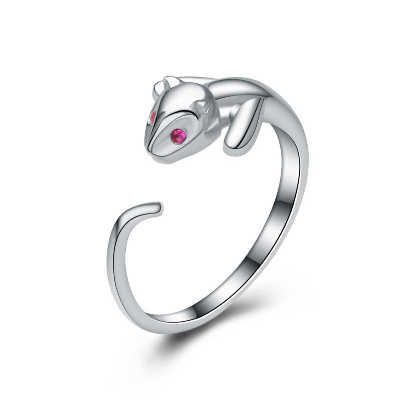 Cartoon Cat Ring Adjustable 925 Sterling Silver Ring For Women