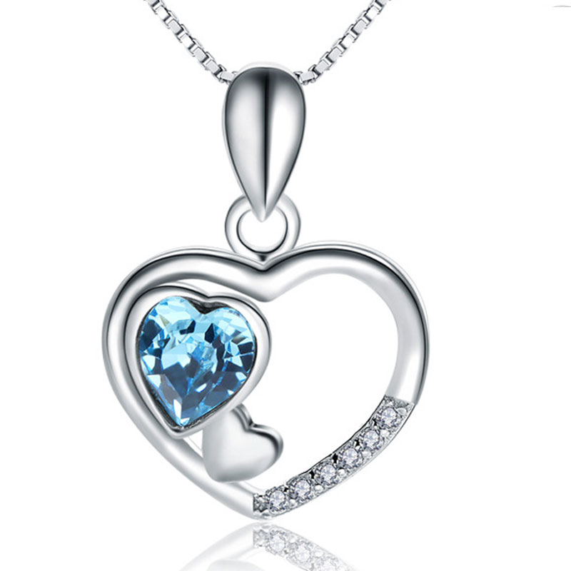 Romantic Love Pendant Fashion Female 925 Sterling Silver Necklace