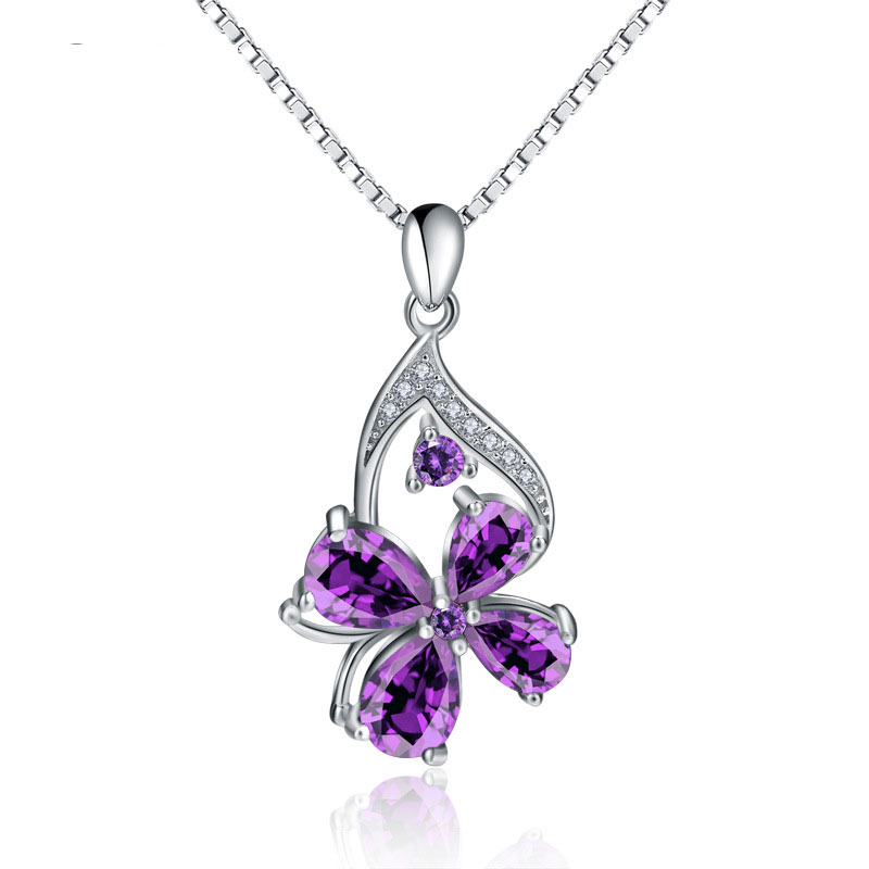 Four Leaf Clover Pendant Fashion Female 925 Sterling Silver Necklace