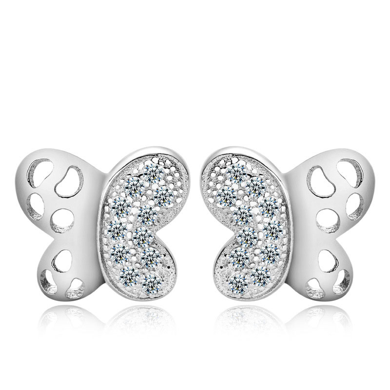 Fashion 925 Sterling Silver Female Butterfly Stud Earrings