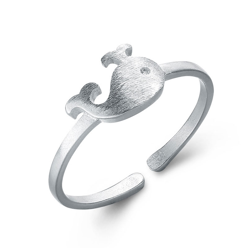 Fashion Fish Ring 925 Sterling Silver Adjustable Ring For Women