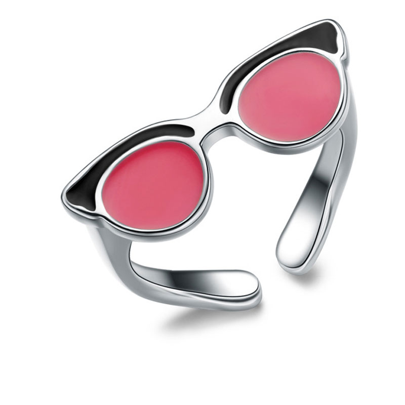 Glasses Modelling Ring 925 Sterling Silver Adjustable Ring For Women