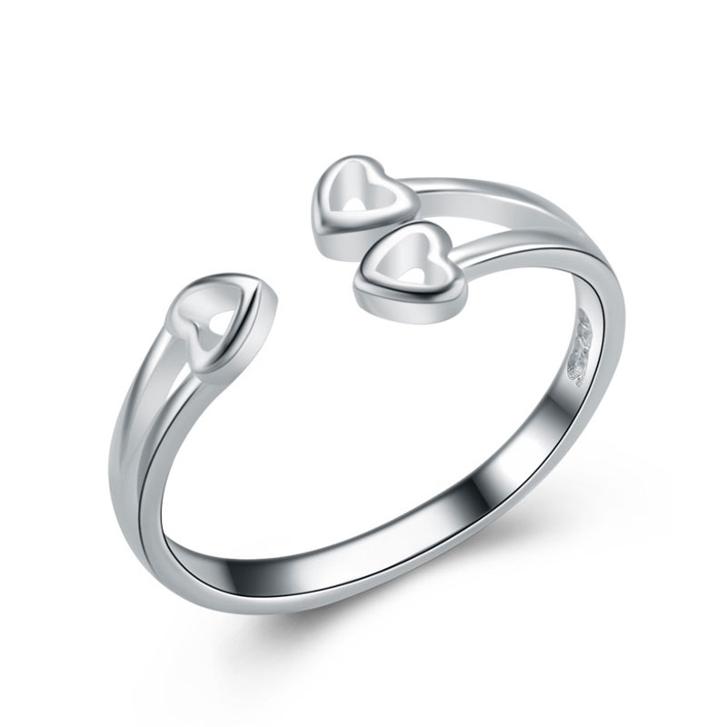 Love Heart-shaped Ring 925 Sterling Silver Adjustable Ring For Women