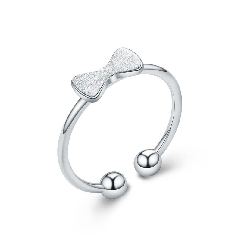 925 Sterling Silver Adjustable Bowknot Ring For Women