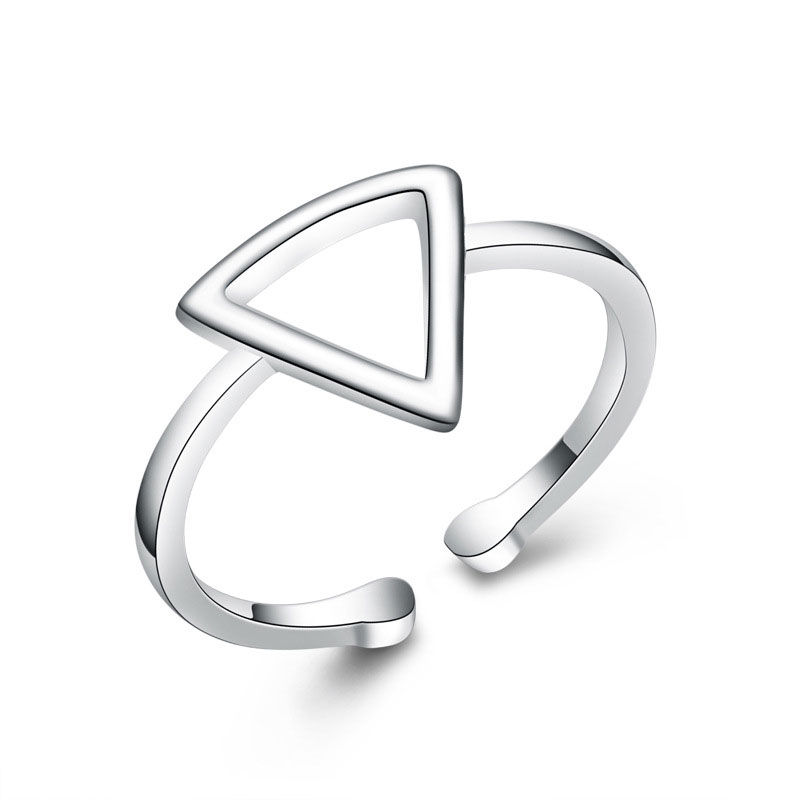 Adjustable 925 Sterling Silver Triangle Ring For Women