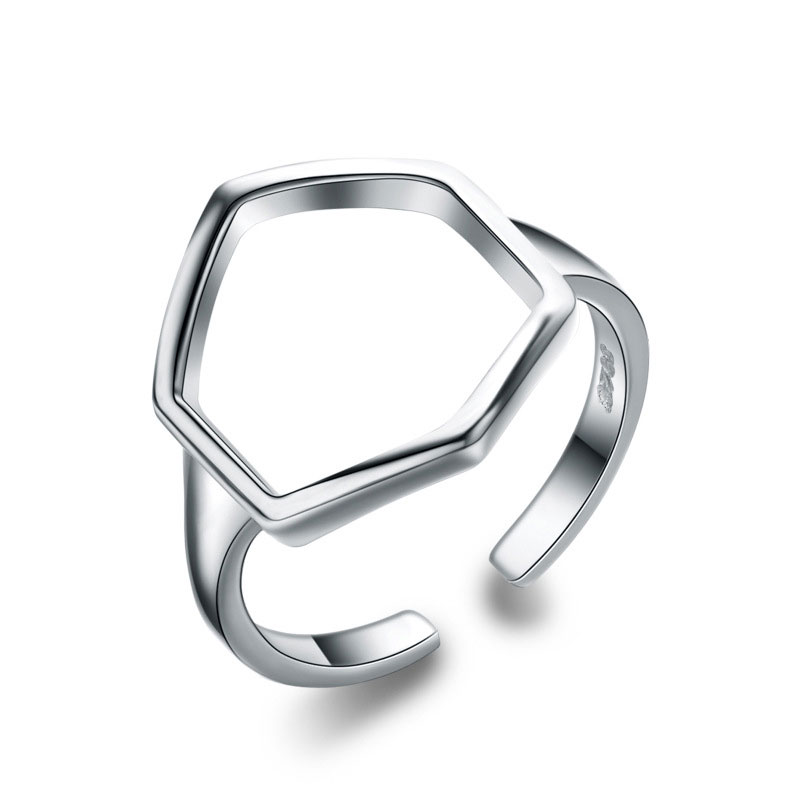 Adjustable 925 Sterling Silver Polygon Ring For Women
