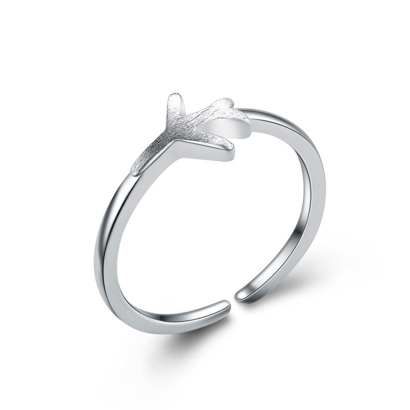 Beautiful Adjustable 925 Sterling Silver Airplane Ring For Women