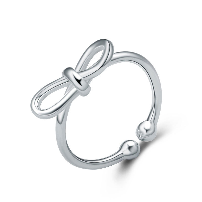 Fashion Adjustable 925 Sterling Silver Bowknot Ring For Women