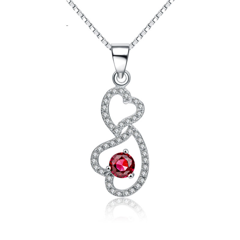 Fashion 925 Sterling Silver Female Heart Pendant Necklace