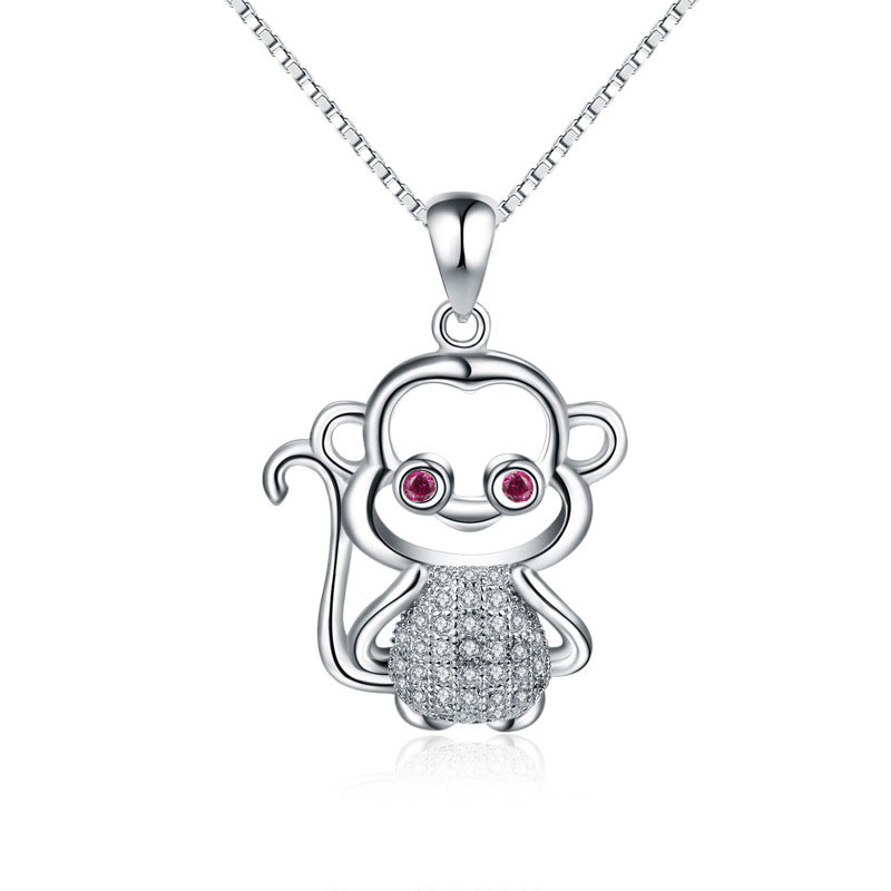 Fashion 925 Sterling Silver Female Monkey Pendant Necklace