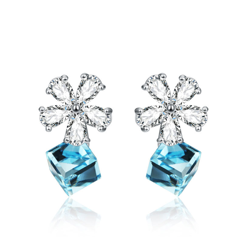 Fashion Female 925 Sterling Silver Diamante Stud Earrings