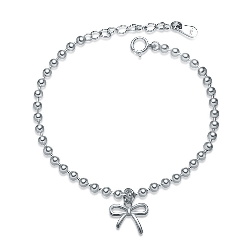 Fashion 925 Sterling Silver Adjustable Bowknot Charm Bracelets