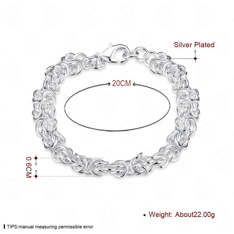 Simple Silver Plated Female Charm Bracelets