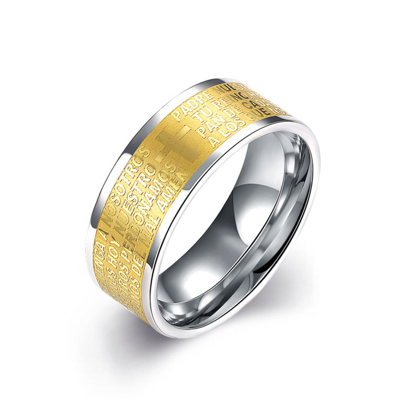 Simple Yellow Gold Plated Stainless Steel Ring For Men