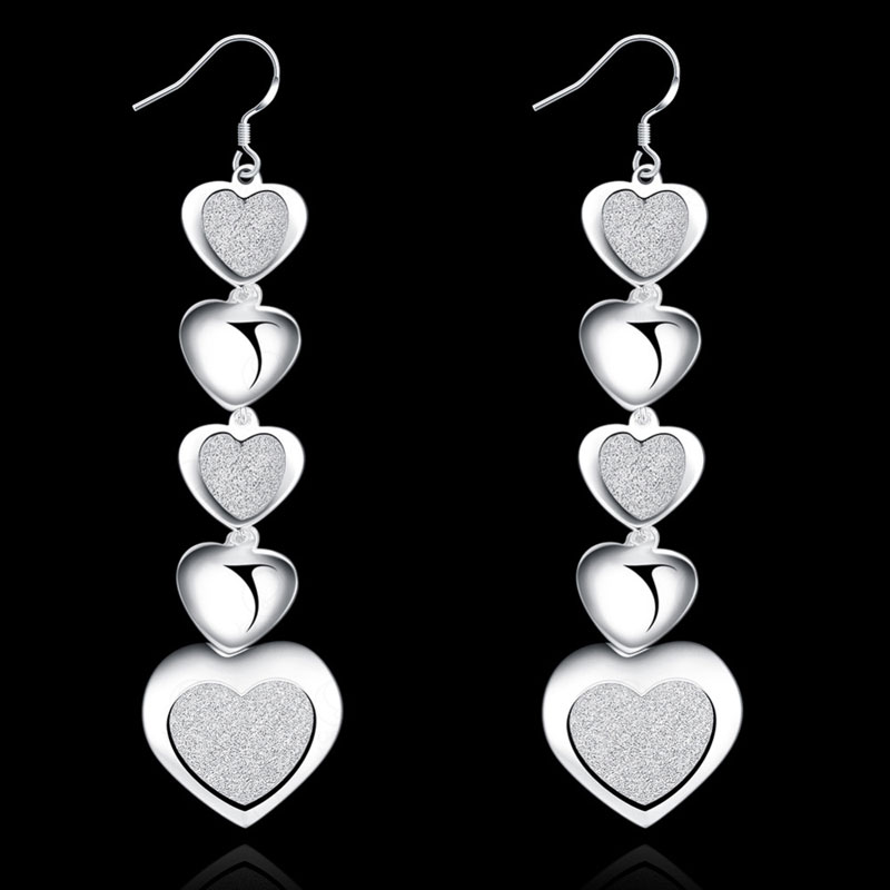 Silver Plated Love Series Pendant Earrings For Women