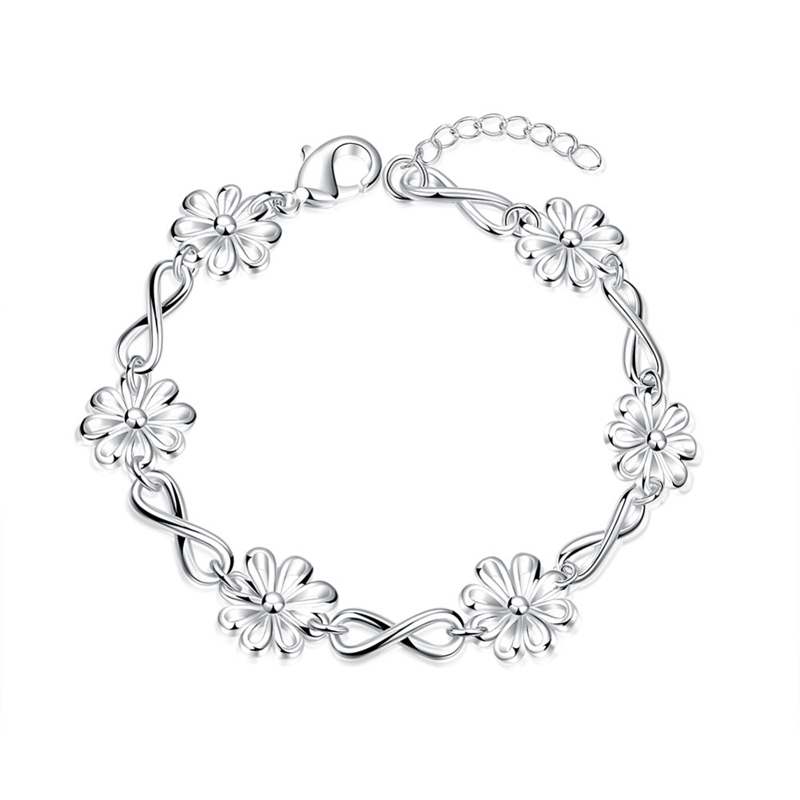 Fashion Jewelry Silver Plated Charm Bracelets Bangles Romantic Wedding Part