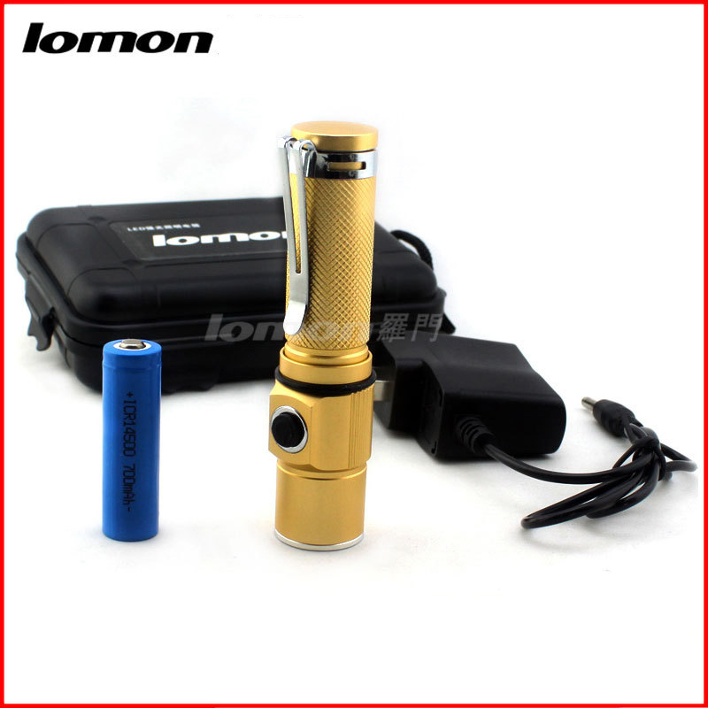 Lomon 14500 Portable Lighting LED Flashlight Yellow Gold SK27 for Everyday Carry/On Foot/Camping/Night Ride