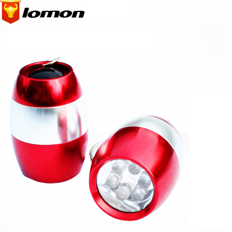 Lomon 6 LED Egg Shaped Small Flashlight Key Chain Flashlight with Button Battery SD34