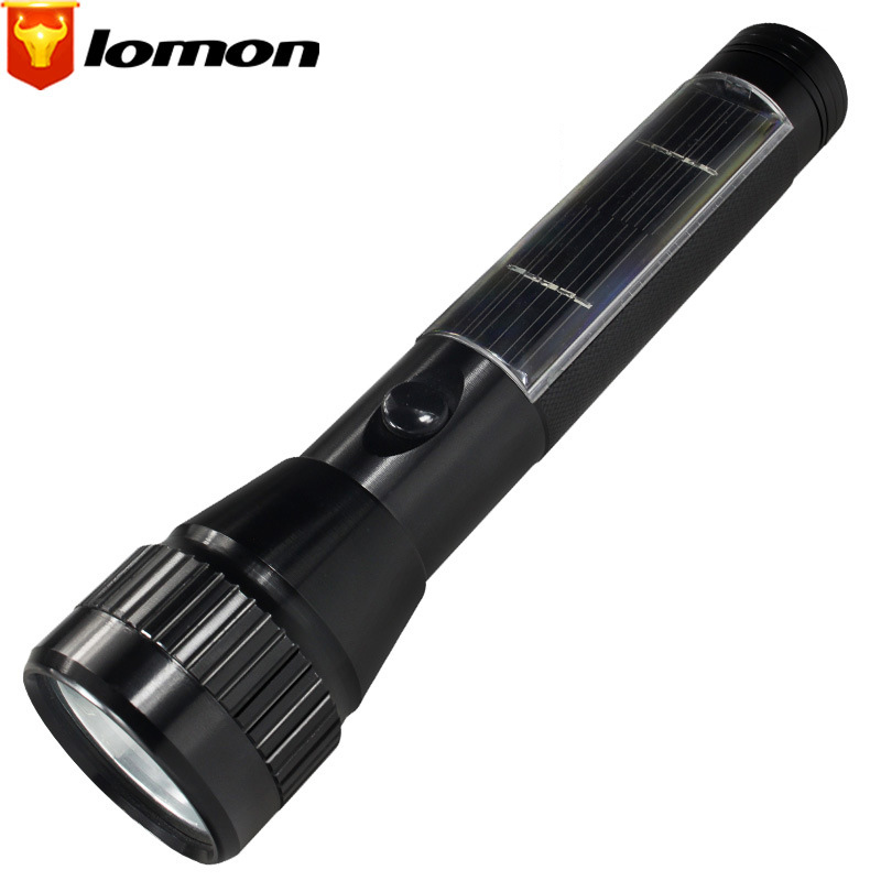 Lomon Solar Rechargeable Flashlight Highlighting Energy Saving Light Waterproof Flashlight SD140
