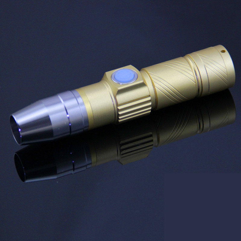 LED Aluminum Alloy Fluorescent Detection USB Rechargeable Flashlight