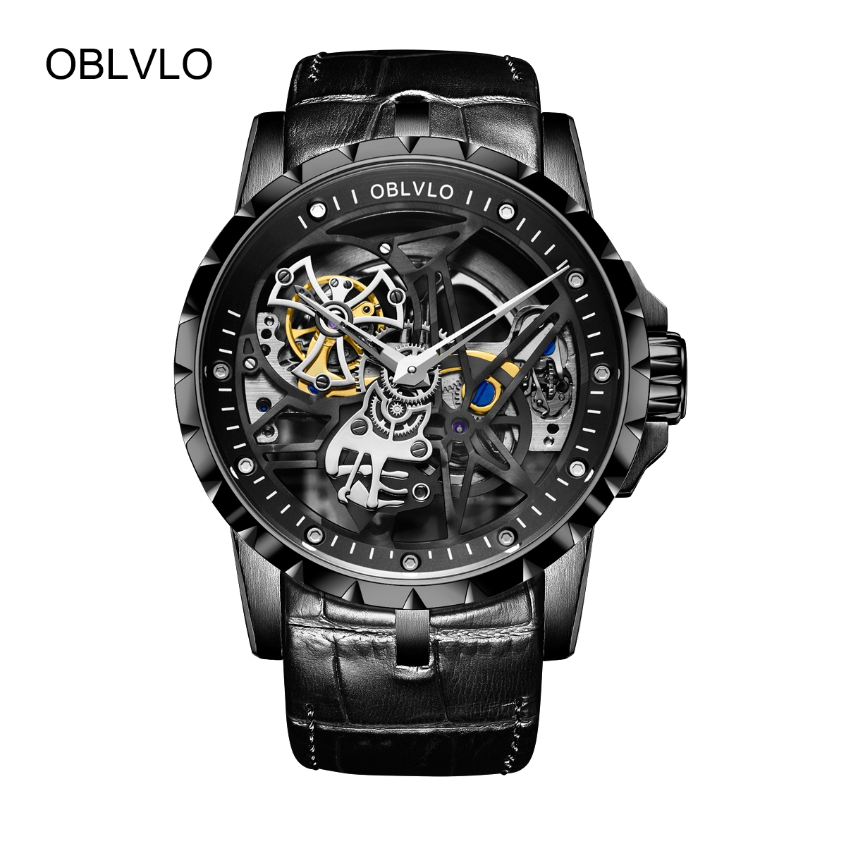 OBLVLO Mens Skeleton Watches Black PVD Watches Leather Strap Tourbillon Automatic Watch OBL3603BSBB
