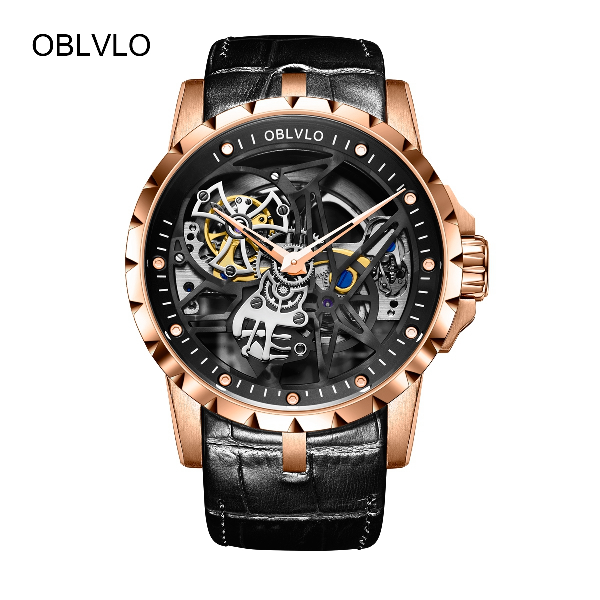 OBLVLO Mens Tourbillon Skeleton Watches Rose Gold Watches Leather Transparent Automatic Watch OBL3603RSBB