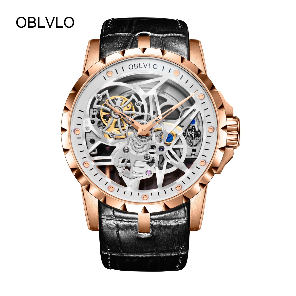 OBLVLO Rose Gold Mens Tourbillon Skeleton Watches Watches Leather Transparent Automatic Watch OBL3603RSBW