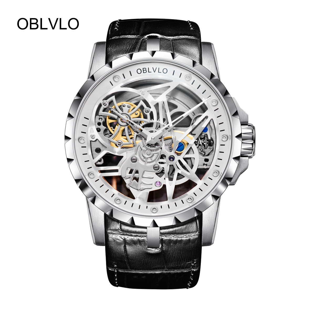 OBLVLO Mens Steel Tourbillon Skeleton Designer Fashion Watch Leather Transparent Automatic Watch OBL3603SSBW