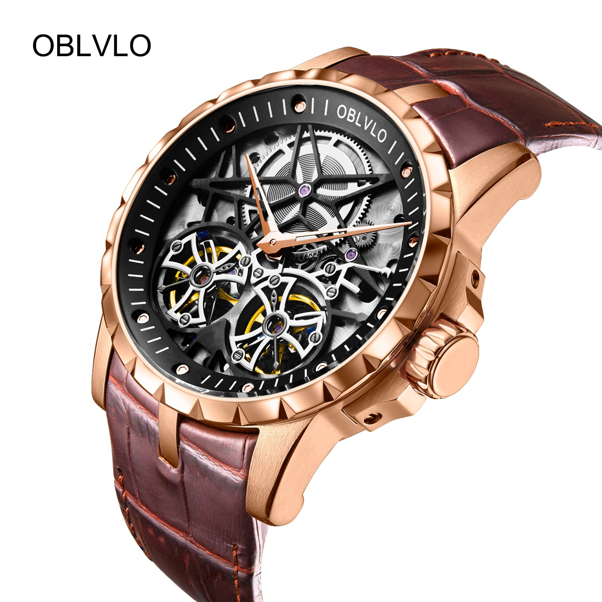 OBLVLO Men\'s Luxury Tourbillon Watches Transparent Rose Gold Skeleton Leather Mechanical Watch OBL3606RSBW