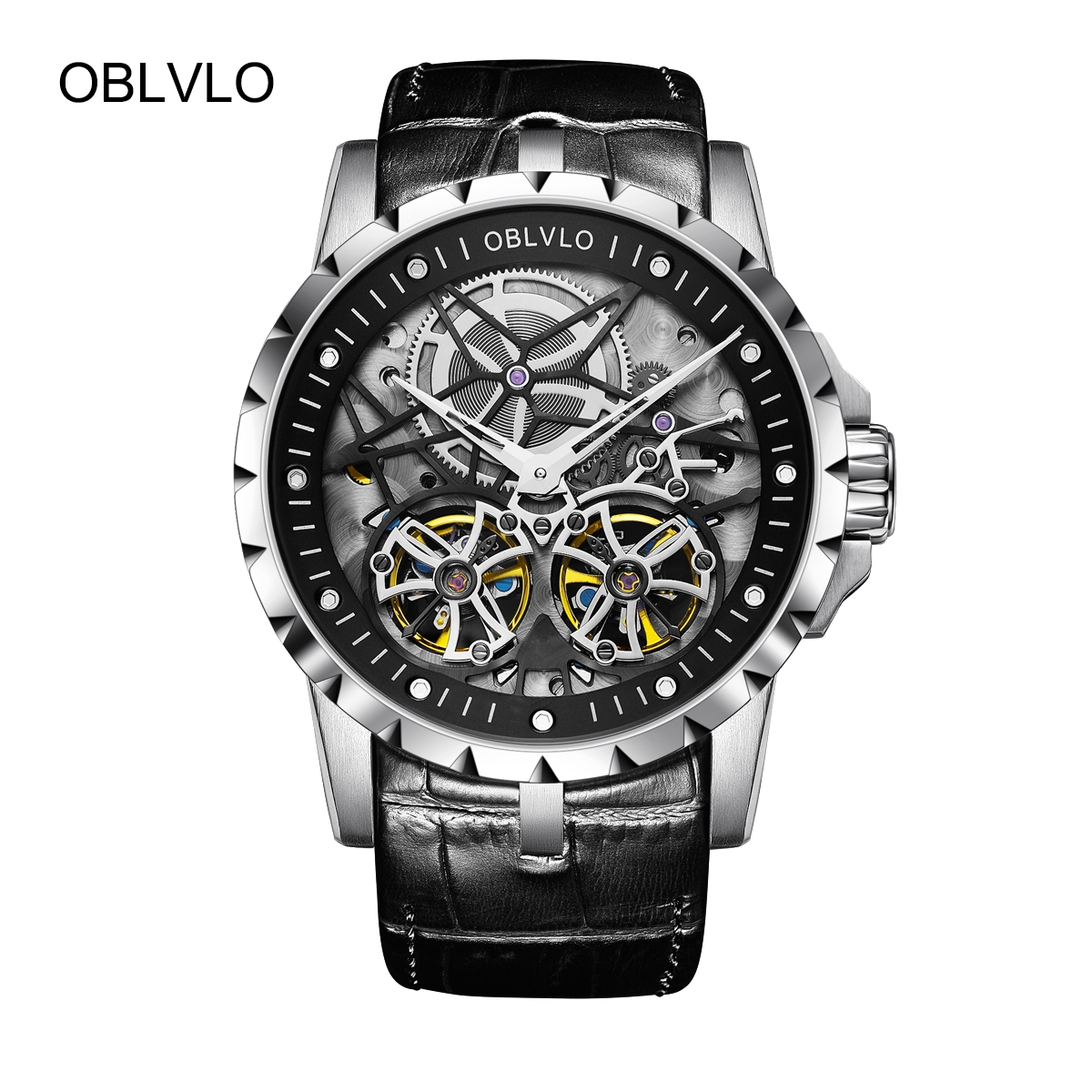 OBLVLO Men's Designer Fashion Tourbillon Watches Transparent Skeleton Leather Mechanical Watch OBL3606SSBB