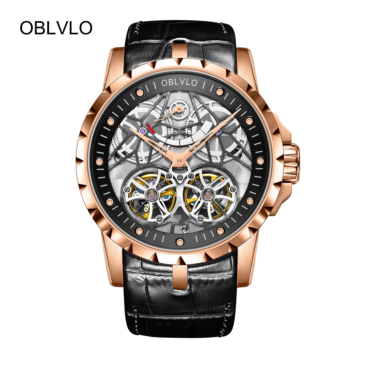 OBLVLO Fashion Tourbillon Watches Transparent Skeleton Leather Strap Automatic Watch For Men OBL3609RSBB