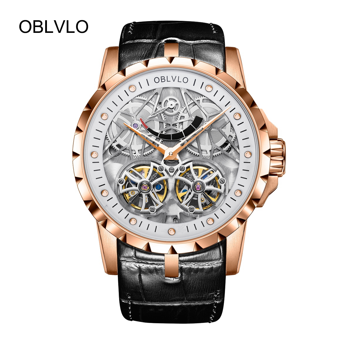 OBLVLO Luxury Men's Tourbillon Watches Transparent Skeleton Leather Strap Automatic Watch OBL3609RSBW