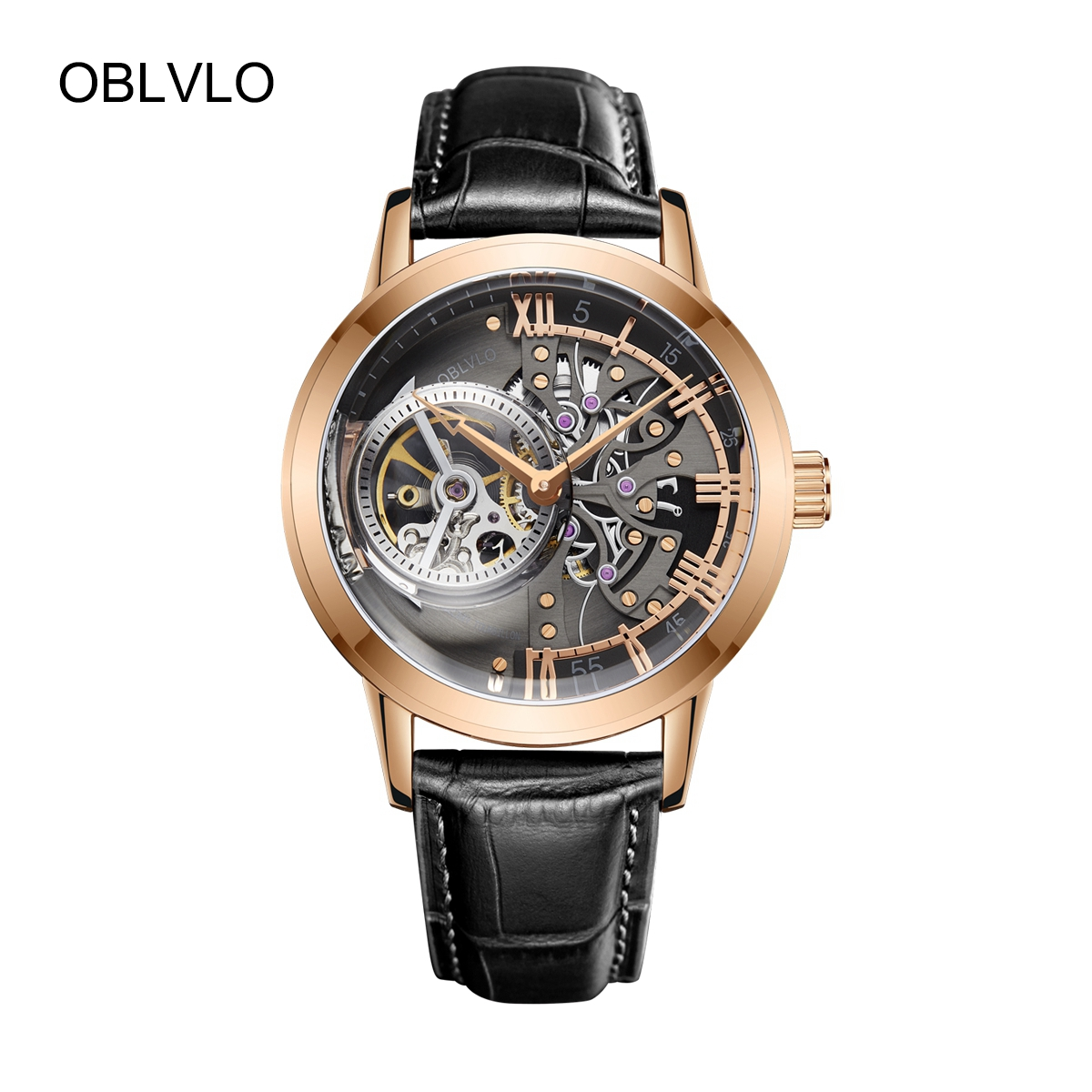 OBLVLO Skeleton Mens Watches Black Steel Automatic Watches Leather Strap Tourbillon Watch OBL8238-PBB