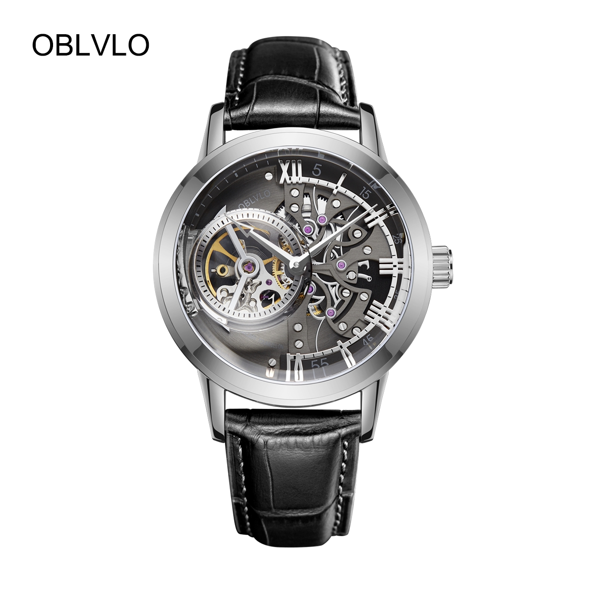 OBLVLO Casual Automatic Watches Steel Mens Watches Genuine Leather Strap Skeleton Watches OBL8238-YBB