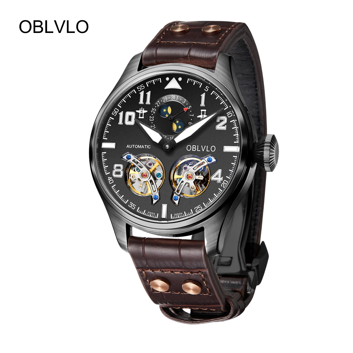 OBLVLO Mens Watches Black PVD Automatic Watches Leather Strap Tourbillon Watch OBL8232-BBB