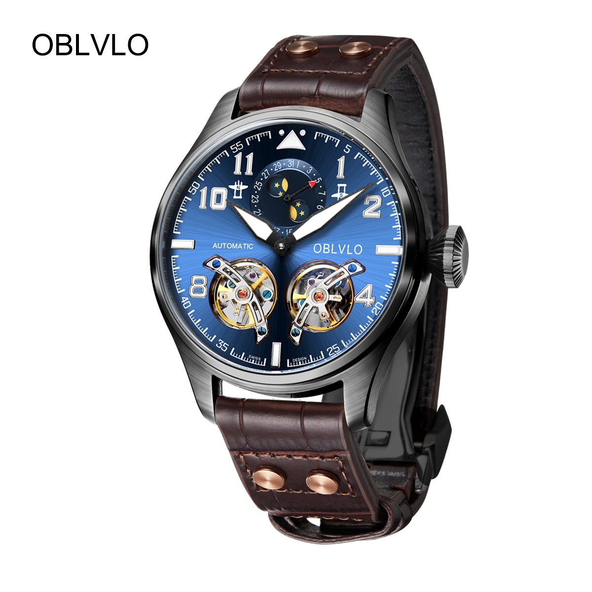 OBLVLO Mens Watches PVD Automatic Watches Blue Dial Leather Strap Tourbillon Watch OBL8232-BLB