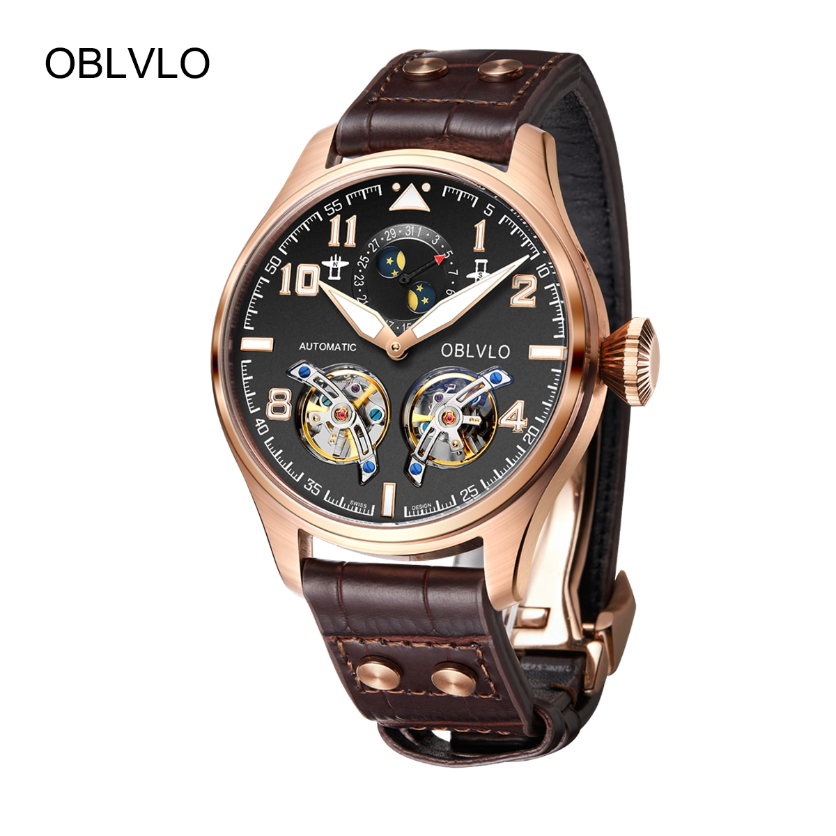OBLVLO Luxury Mens Watches Rose Gold Automatic Watches Leather Strap Tourbillon Watch OBL8232-PBB