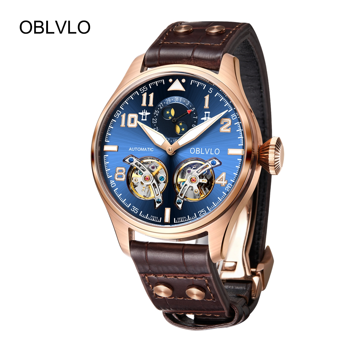 OBLVLO Mens Luxury Watches Rose Gold Automatic Watches Tourbillon Leather Strap Watch OBL8232-PLS