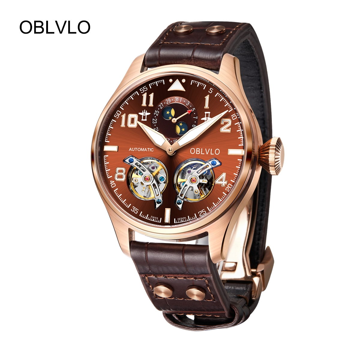 OBLVLO Mens Luxury Tourbillon Watches Rose Gold Automatic Watches Date Leather Strap Watch OBL8232-PSS