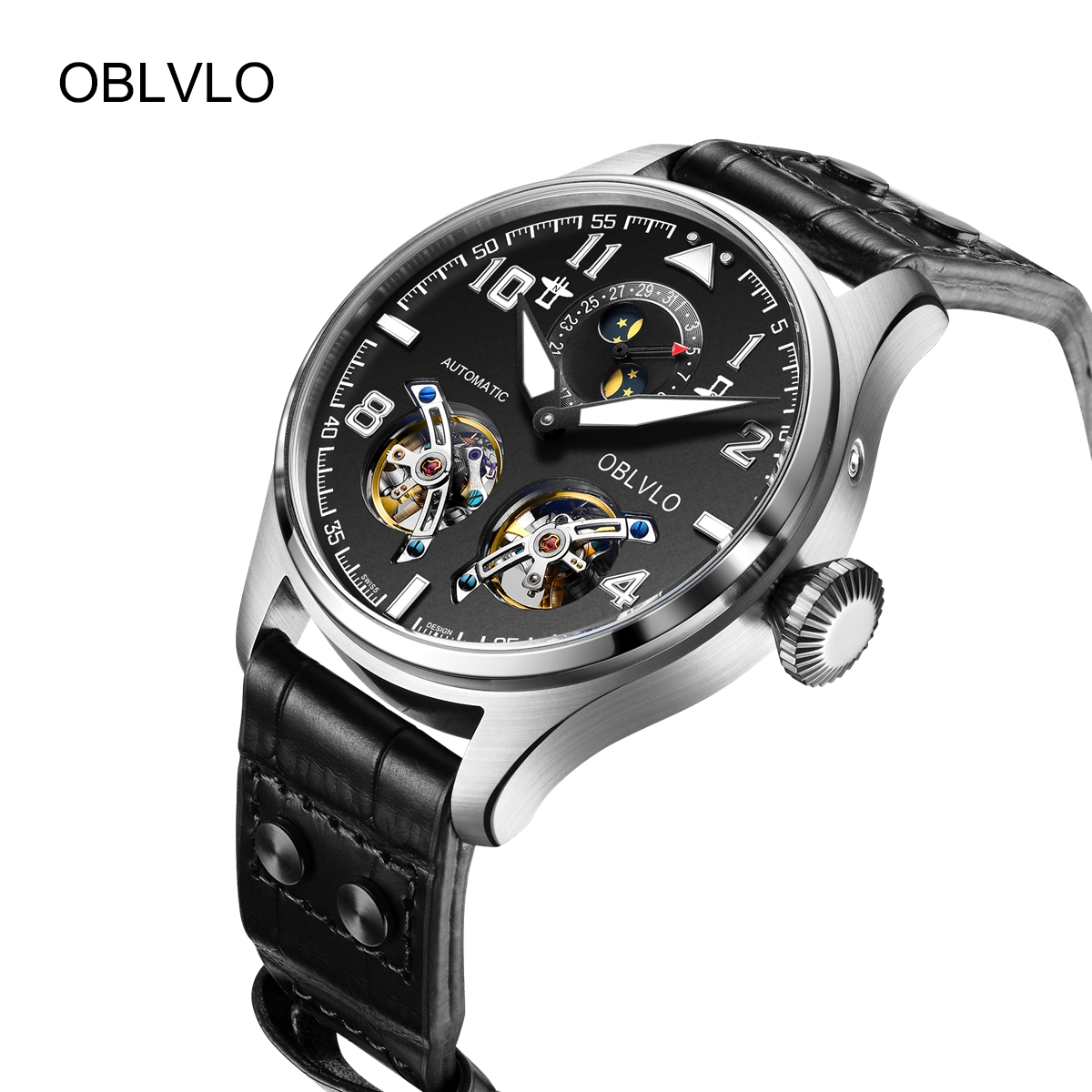OBLVLO Mens Fashion Watches Steel Automatic Watch Date Tourbillon Leather Strap Watch OBL8232-YBB