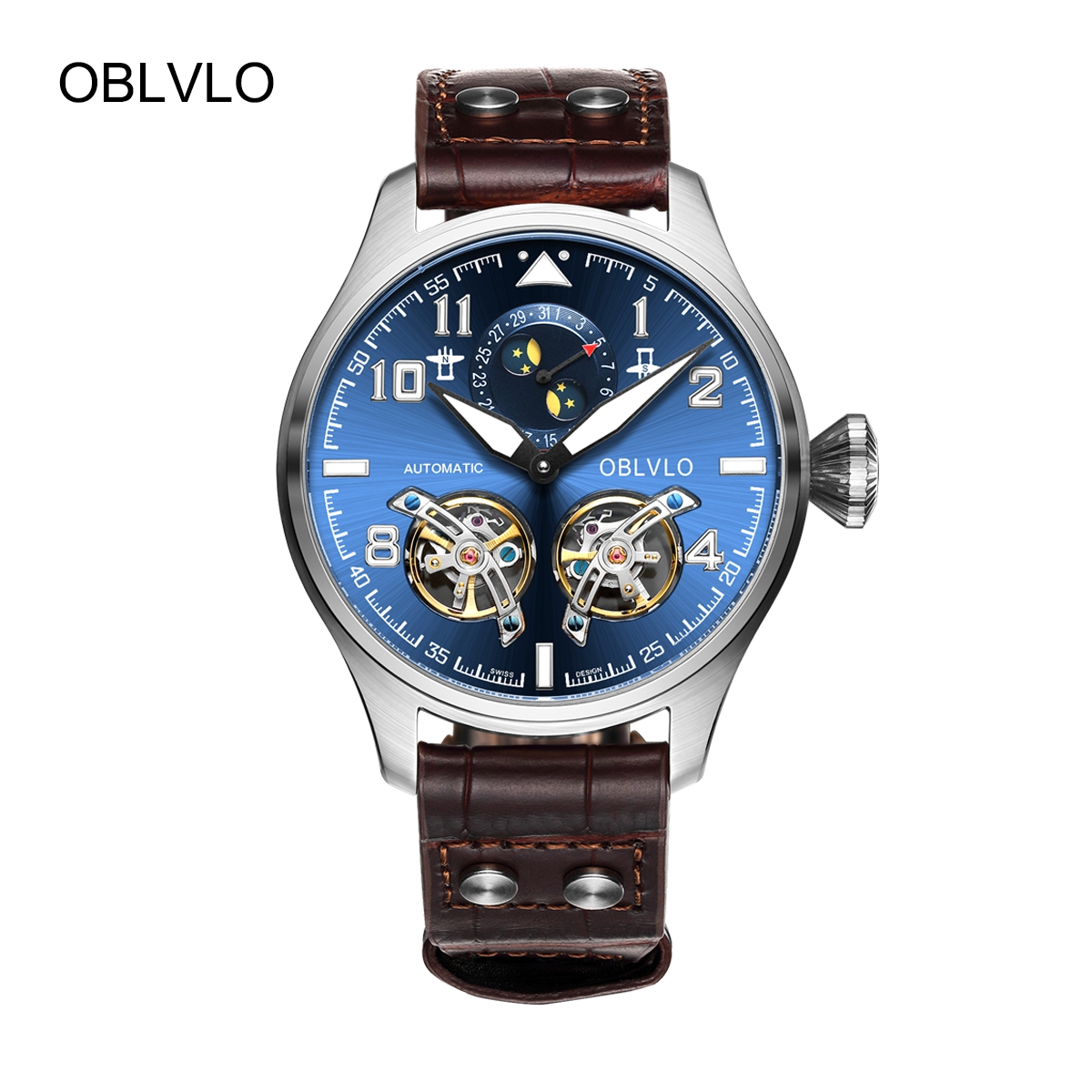 OBLVLO Mens Fashion Tourbillon Watches Steel Automatic Watch Blue Dial Leather Strap Watch OBL8232-YLS