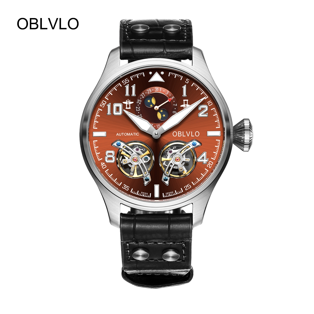 OBLVLO Fashion Mens Watches Steel Automatic Watch Tourbillon Date Leather Strap Watch OBL8232-YSB