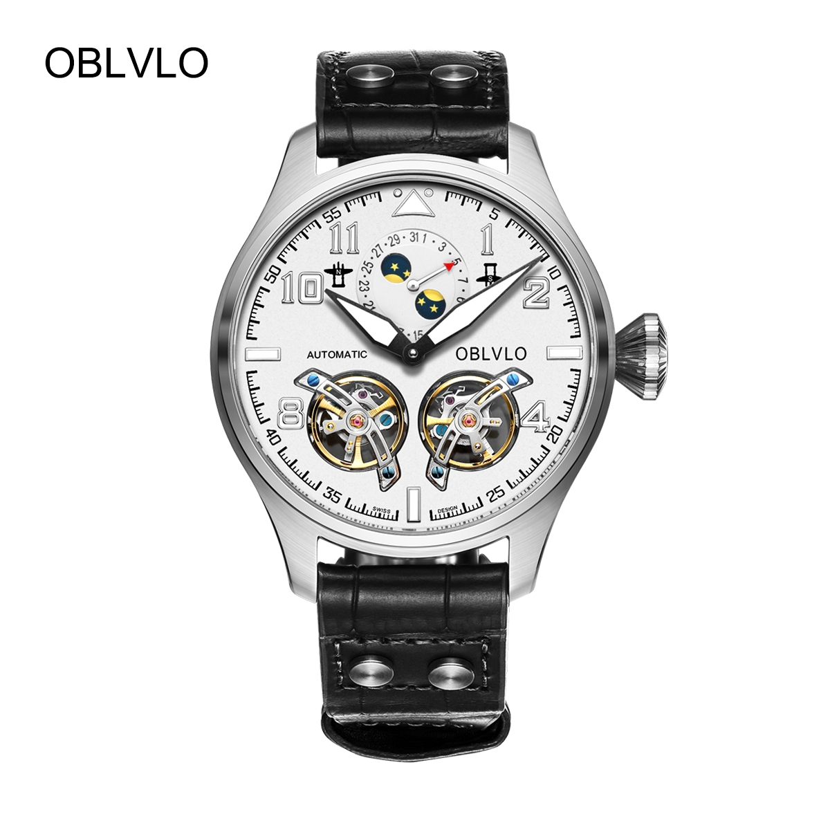 OBLVLO Mens Fashion Watches White Dial Steel Automatic Watch Date Tourbillon Leather Strap Watch OBL8232-YWB
