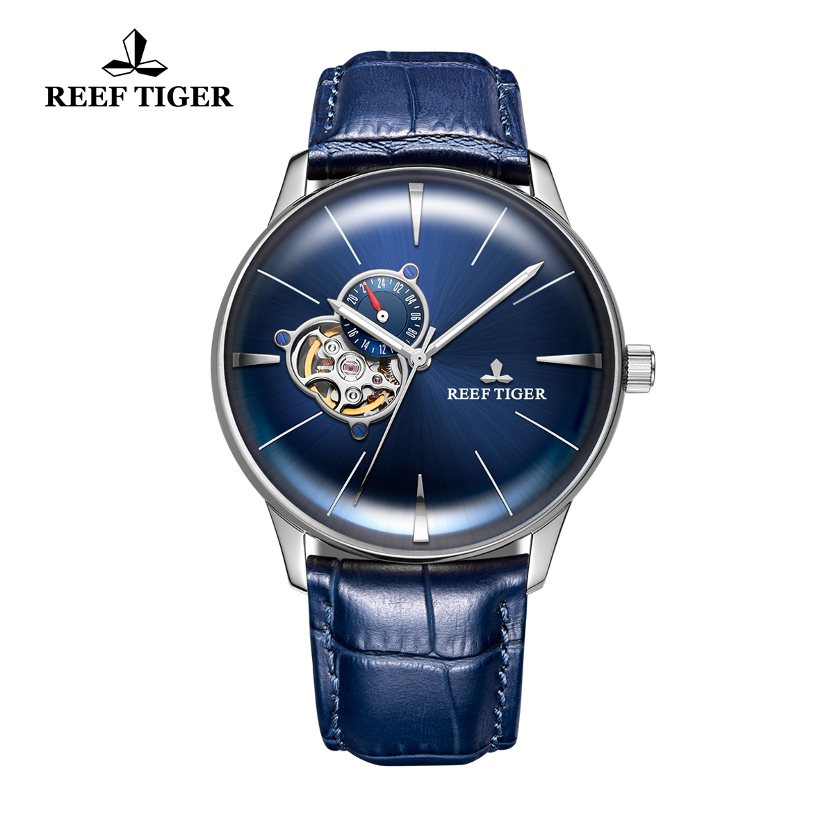 Reef Tiger Classic Glory Men's Blue Dial Automatic Watch Calfskin Leather Strap RGA8239-YLL