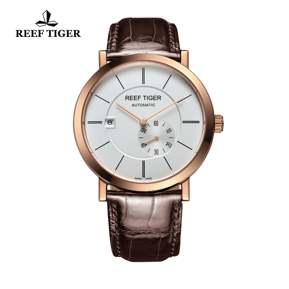 Reef Tiger Business Watch Ultra Thin Rose Gold White Dial Automatic Watch RGA161-PWS