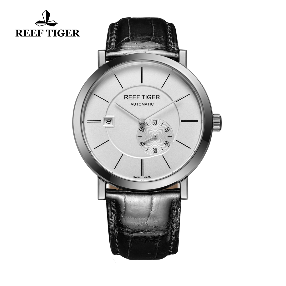 Reef Tiger Business Watch Ultra Thin Stainless Steel White Dial Automatic Watch RGA161-YWB