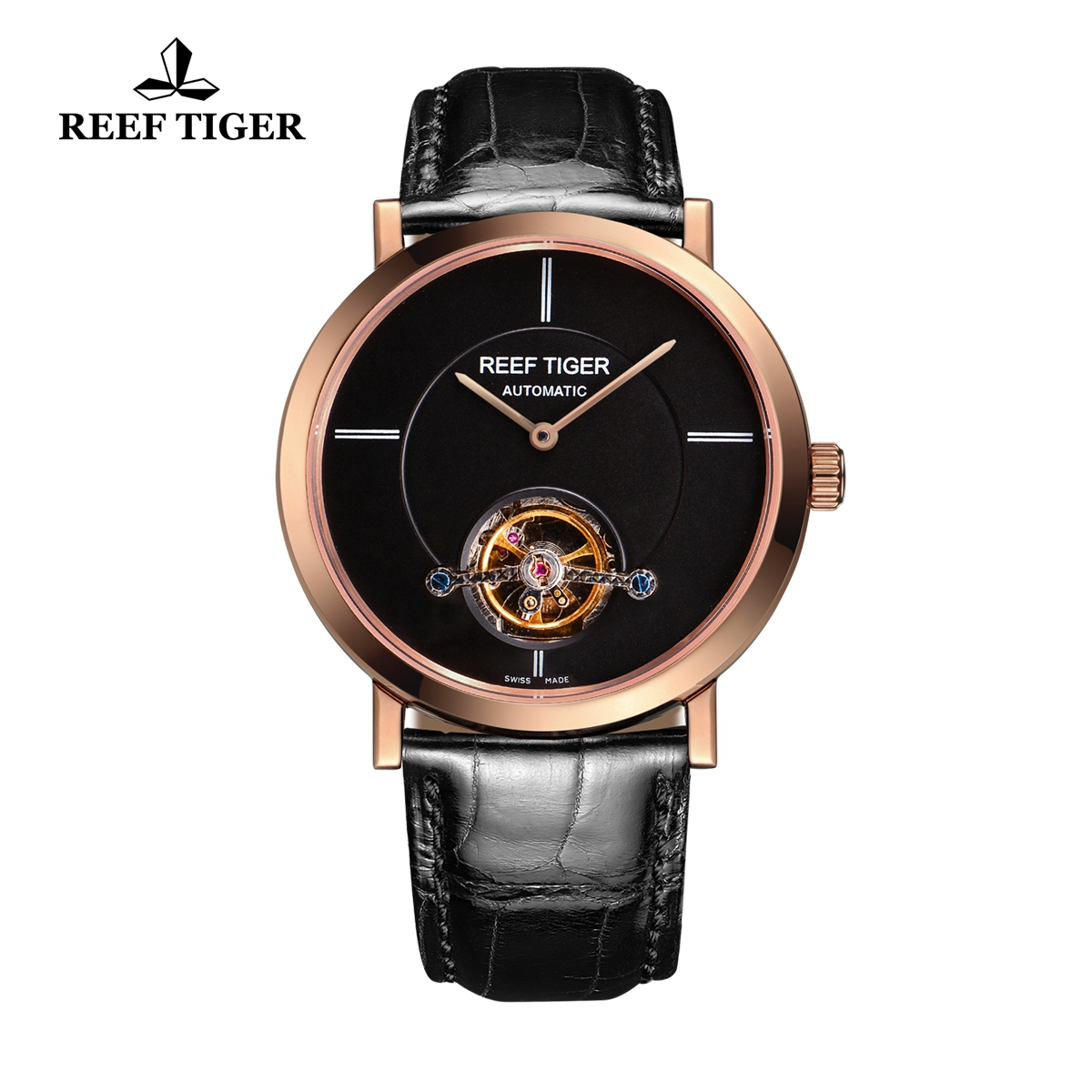 Reef Tiger Business Watch Rose Gold Black Dial Automatic Tourbillon Watch RGA1610-PBB