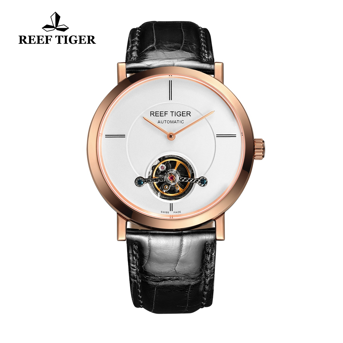 Reef Tiger Business Watch Rose Gold White Dial Automatic Tourbillon Watch RGA1610-PWB