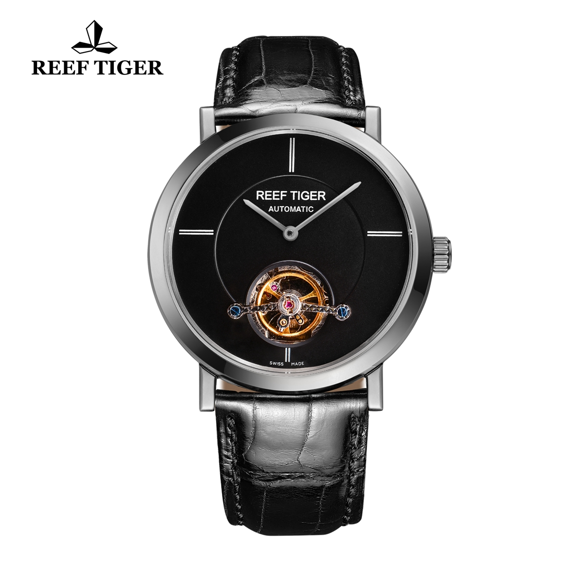 Reef Tiger Business Watch Stainless Steel Black Dial Automatic Tourbillon Watch RGA1610-YBB