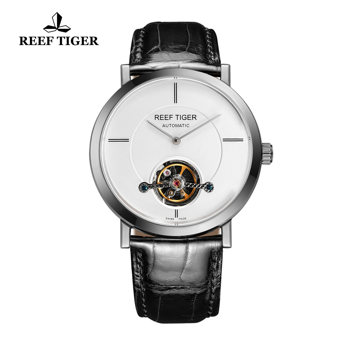 Reef Tiger Business Watch Stainless Steel White Dial Automatic Tourbillon Watch RGA1610-YWB